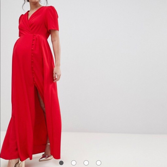 268c6799b8 ASOS Maternity Dresses   Skirts - Red Button Down Maternity Maxi Dress Gown